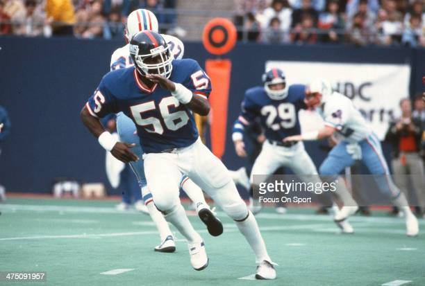 Lawrence Taylor of the New York Giants in action against the Houston Oilers during an NFL football game December 5 1982 at The Meadowlands in East...
