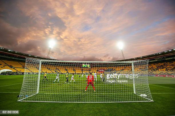 Lawrence Thomas of Melbourne Victory defends his goal as the sun sets during the round seven A-League match between the Wellington Phoenix and the...