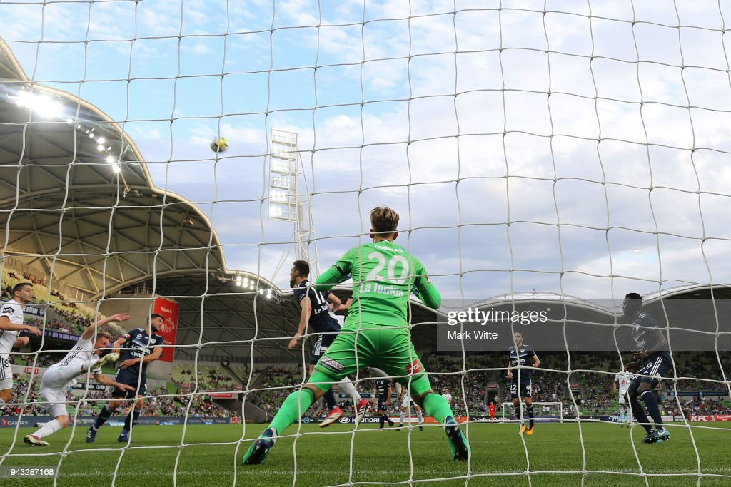 Lawrence Thomas of Melbourne Victory looks on in defence during the round 26 A-League match between the Melbourne Victory and the Wellington Phoenix at AAMI Park on April 8, 2018 in Melbourne, Australia.