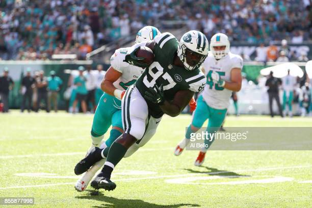 Lawrence Thomas of the New York Jets in action against the Miami Dolphins during their game at MetLife Stadium on September 24 2017 in East...