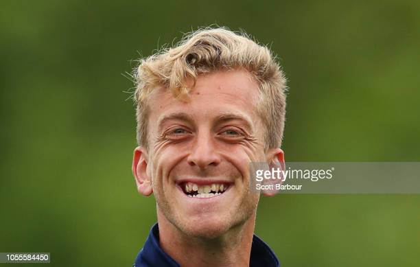 Lawrence Thomas of the Victory smiles during a Melbourne Victory ALeague training session at Gosch's Paddock on October 31 2018 in Melbourne Australia