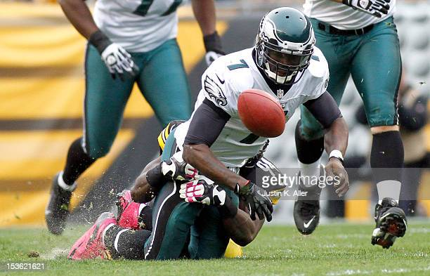 Lawrence Timmons of the Pittsburgh Steelers rips the ball from Michael Vick of the Philadelphia Eagles during the game on October 7 2012 at Heinz...