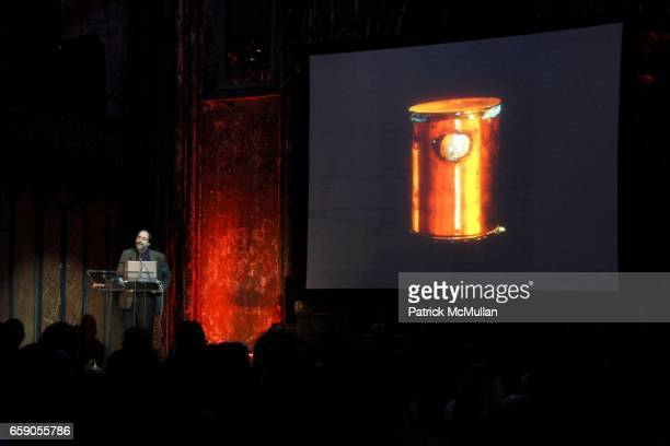 """Lawrence Weschler attends The New York Institute for the Humanities at NYU presents """"LIBRARY OF DUST"""" by DAVID MAISEL at The Angel Orensanz..."""