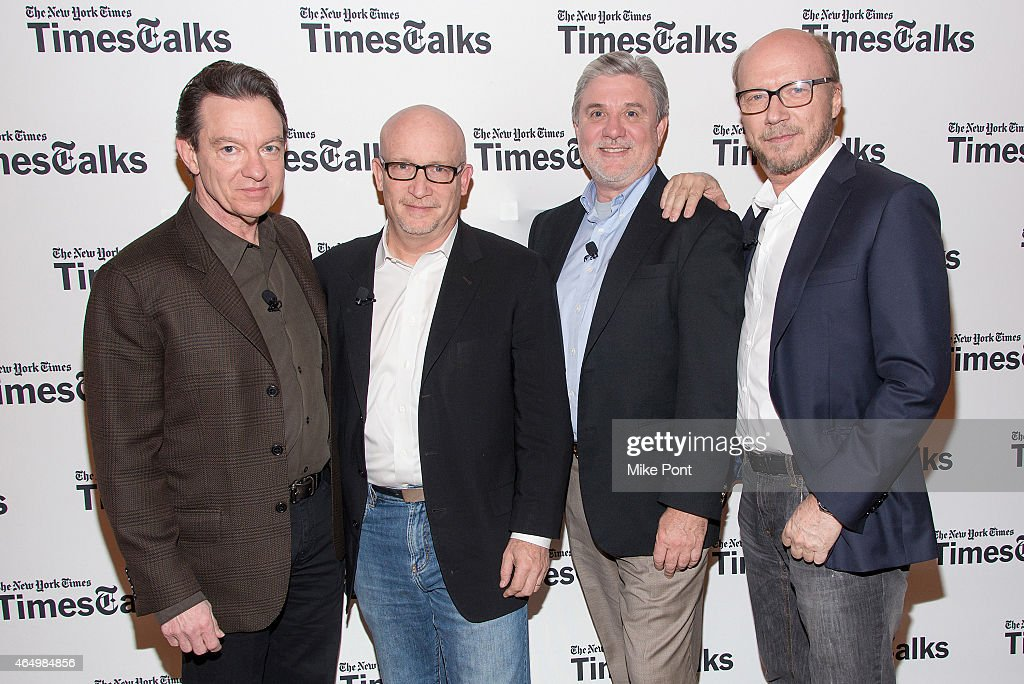 Lawrence Wright, Alex Gibney, Mike Rinder, and Paul Haggis attend TimesTalks Presents An Evening With 'Going Clear: Scientology and the Prison of Belief' at The Times Center on March 2, 2015 in New York City.
