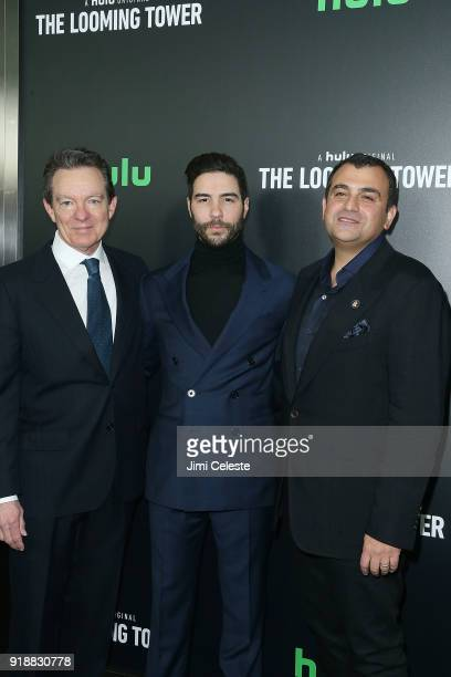 Lawrence Wright Tahar Rahim and Ali Soufan attend Hulu's The Looming Tower Series Premiere at The Paris Theatre on February 15 2018 in New York City