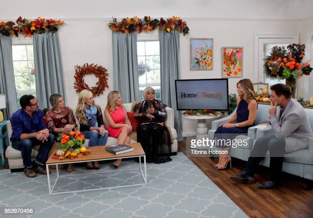 Lawrence Zarian Ali Fedotowsky Paige Hemmis Kym Douglas TBoz Debbie Matenopoulos and Mark Steines talk on the set of Hallmark's 'Home and Family' at...