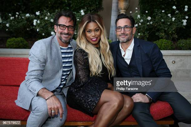 Lawrence Zarian Laverne Cox and Gregory Zarian attend the Los Angeles Confidential Celebration for Portraits of Pride with GLAAD and Laverne Cox on...