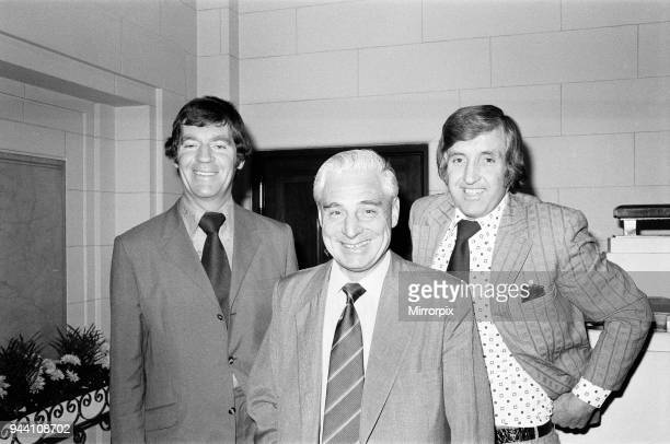 Lawrie McMenemy Ted Bates of Southampton Football Club and John Bond of Norwich City pictured arriving at Highbury for League Manager's Meeting 15th...