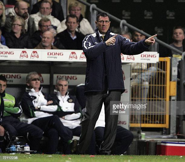 Lawrie Sanchez Manager of Northern Ireland gives instructions at the Parken Stadium during the Euro 2008 group F qualifier between Denmark and...