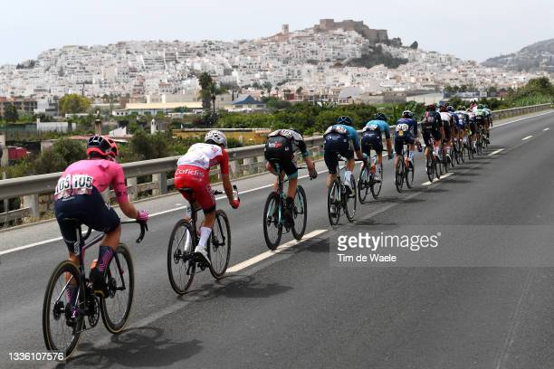 Lawson Craddock of United States and Team EF Education - Nippo, Guillaume Martin of France and Team Cofidis and a general view of the Breakaway...