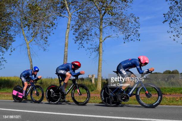 Lawson Craddock of United States, Brandon Mcnulty of United States and Neilson Powless of United States sprint during the 94th UCI Road World...