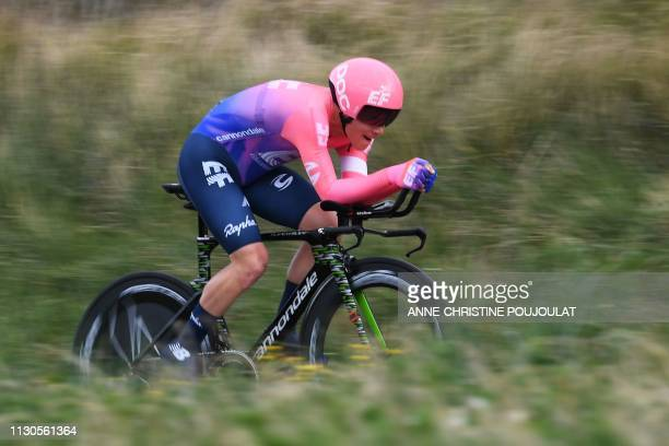 US Lawson Craddock rides during the 255km 5th stage of the 77th ParisNice cycling race an individual timetrial between Barbentane and Barbentane on...