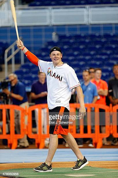 Lawson Crouse a 2015 NHL top Draft Prospect reacts after hitting a home run during batting practice during the Media Tour at Marlins Park on June 24...