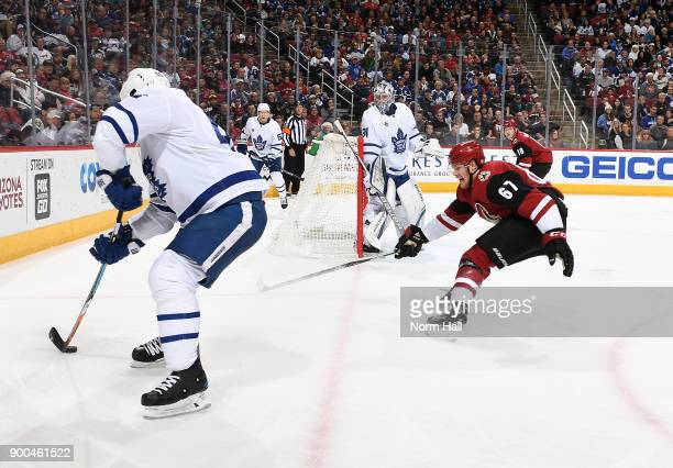 Lawson Crouse of the Arizona Coyotes skates after the puck against the Toronto Maple Leafs at Gila River Arena on December 28 2017 in Glendale Arizona