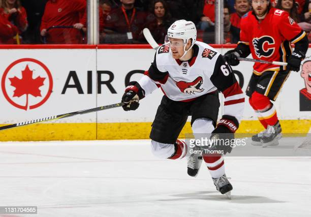 Lawson Crouse of the Arizona Coyotes skates against the Calgary Flames at Scotiabank Saddledome on February 18 2019 in Calgary Alberta Canada