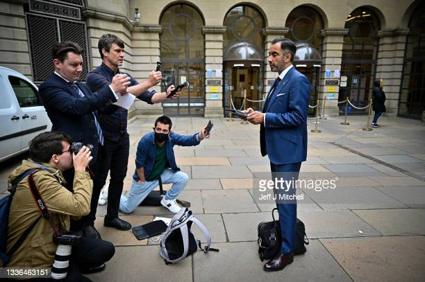 Lawyer Aamer Anwar makes a statement outside the Sheriff Court following an hearing Catalan minister Clara Ponsati on August 26, 2021 in Edinburgh,...