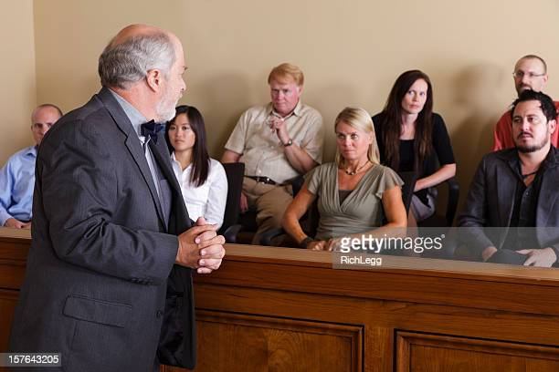 lawyer addressing the jury - jury box stock pictures, royalty-free photos & images