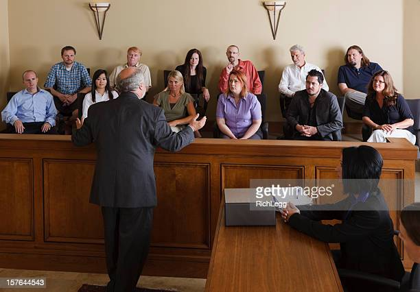 lawyer addressing the jury - courtroom stock pictures, royalty-free photos & images