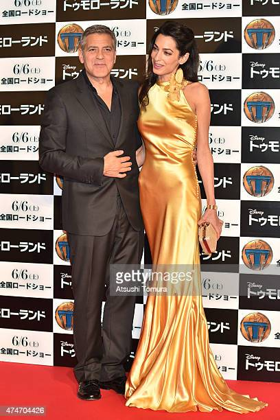 Lawyer Amal Clooney and actor George Clooney attends the Tokyo premiere of 'Tomorrowland' at Roppongi Hills on May 25 2015 in Tokyo Japan