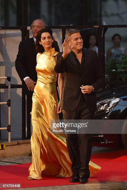 Lawyer Amal Clooney and actor George Clooney attends the Tokyo premiere of Tomorrowland at Roppongi Hills on May 25 2015 in Tokyo Japan