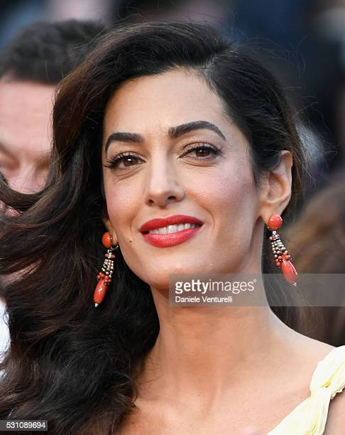 Lawyer Amal Clooney attends the 'Money Monster' premiere during the 69th annual Cannes Film Festival at the Palais des Festivals on May 12 2016 in...
