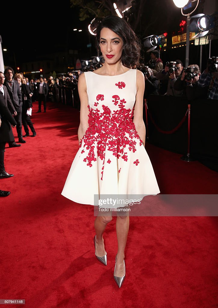 Lawyer Amal Clooney attends Universal Pictures' 'Hail, Caesar!' premiere at Regency Village Theatre on February 1, 2016 in Westwood, California.