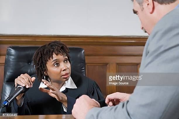 A lawyer and a judge talking