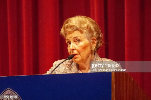 Lawyer and activist Phyllis Schlafly stands behind a podium while speaking during a Milton S Eisenhower Symposium Homewood Campus of Johns Hopkins...