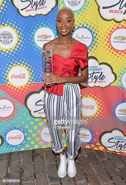 Lawyer and digital influencer Blake Von D poses with her Chevy Street Style Maven award during the 2016 Essence Street Style Block Party at DUMBO on...