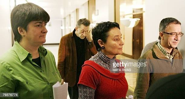 Lawyer and former parlamentarian of banned pro independence Basque party Batasuna Jone Goirizelaia is flanked by Communist Party of the Basque Lands...
