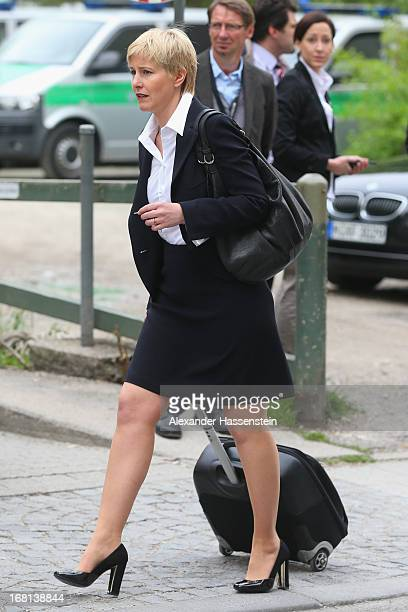 Lawyer Anja Sturm who are representing defendant Beate Zschaepe arrives at the Oberlandesgericht Muenchen state court on May 6 2013 in Munich Germany...