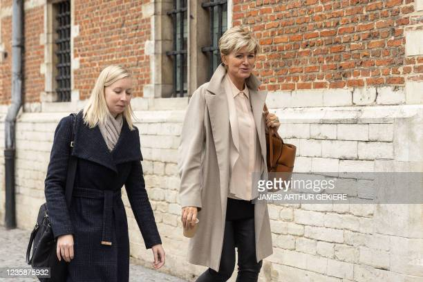 Lawyer An-Sofie Raes and lawyer Christine Mussche pictured at a session of the Criminal Court in Mechelen in the trial of television producer Bart De...