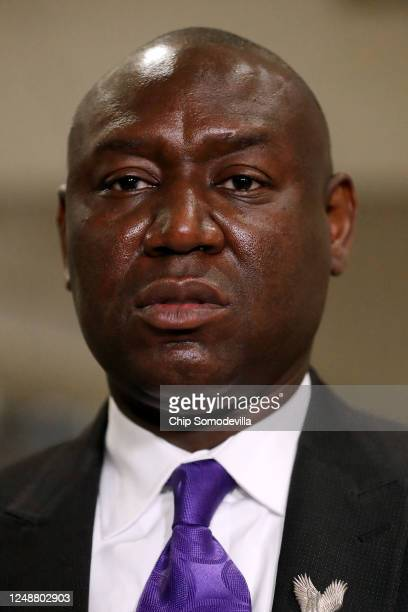Lawyer Benjamin Crump who is representing the family of George Floyd makes a brief statement during a break in a House Judiciary Committee hearing...
