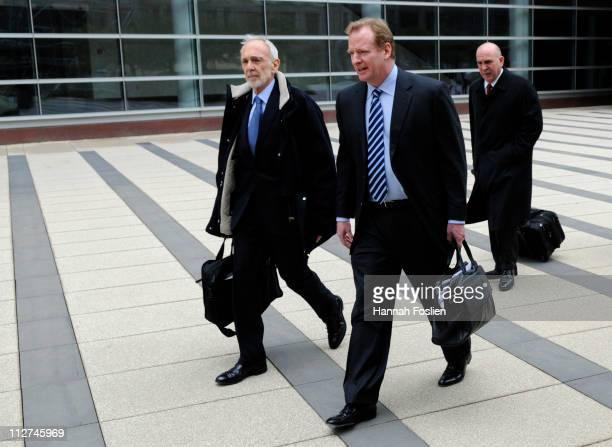NFL lawyer Bob Batterman and NFL Commissioner Roger Goodell leave court ordered mediation at the US Courthouse on April 20 2011 in Minneapolis...