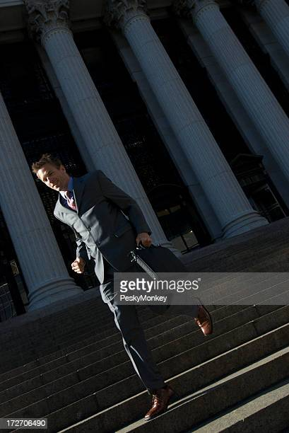Lawyer Businessman Politician Running Down Courthouse Steps