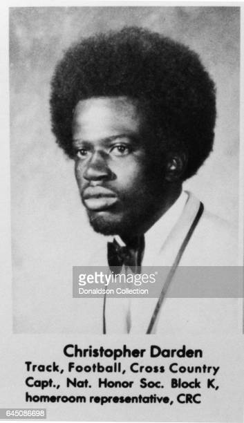 Lawyer Chris Darden in his high school year book portrait which reads Track Football Cross Country Capt Nat Honor Soc Block K homeroom representative...