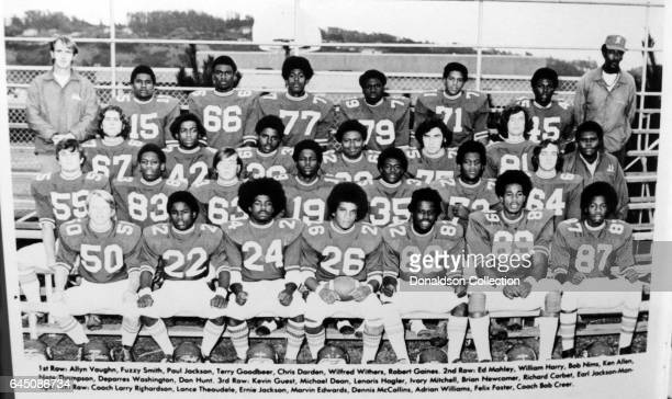 Lawyer Chris Darden in his high school year book with the football team in his football uniform in 1974 in California
