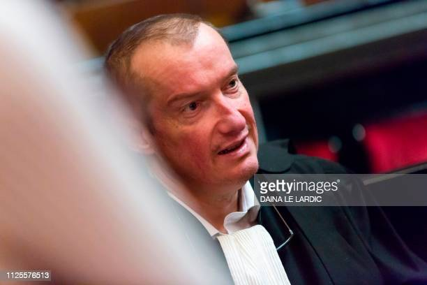 Lawyer Christian Dalne representing the civil party of Annie Adam the mother of victim Alexandre Strens as he attends a session in the trial of two...