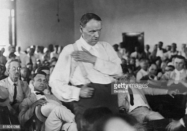 Lawyer Clarence Darrow pleads against religious bigotry before a jury in Dayton Tennessee during the Scopes Trial