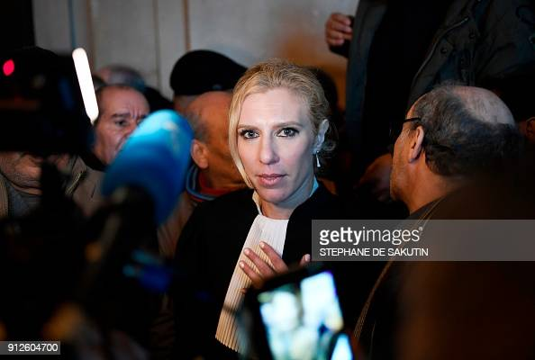 Lawyer Clelie de Lesquen-Jonas talks to the press at the ...
