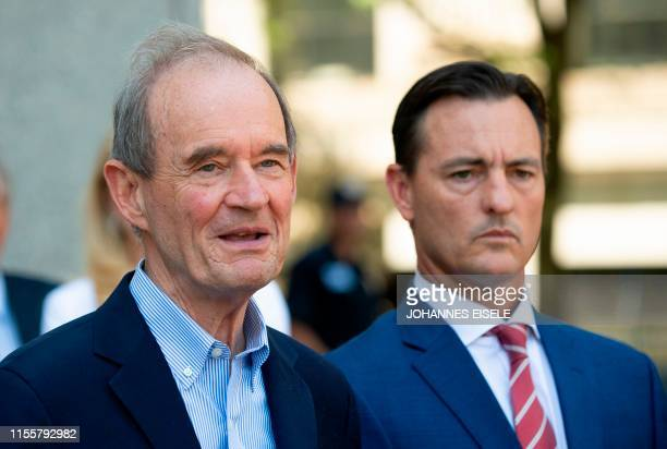 Lawyer David Boies and Brad Edwards speak to the press after a bail hearing in US financier Jeffrey Epstein's sex trafficking case on July 15 2019 in...