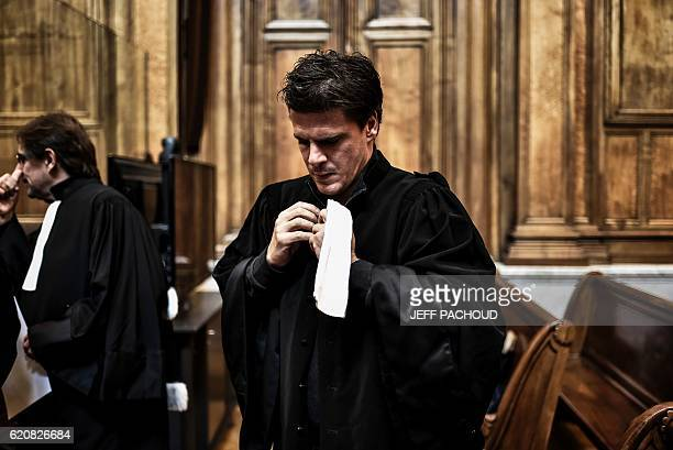 Lawyer David Metaxas prepare on November 3 2016 of the trial of 5 men suspected of Change Migros Thonex's robbery in November 2010 in Geneva The...