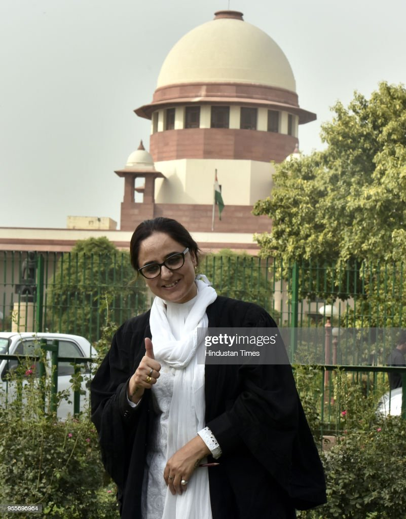 Lawyer Deepika Singh Rajawat pose for photograph after the Supreme Court vacated the stay from Kathua rape and murder case trial and transferred it...