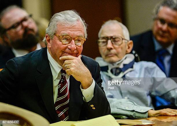 Lawyer Dick DeGuerin left and real estate heir Robert Durst in the Airport Branch of the Los Angeles County Superior Court on November 7 2016 in Los...