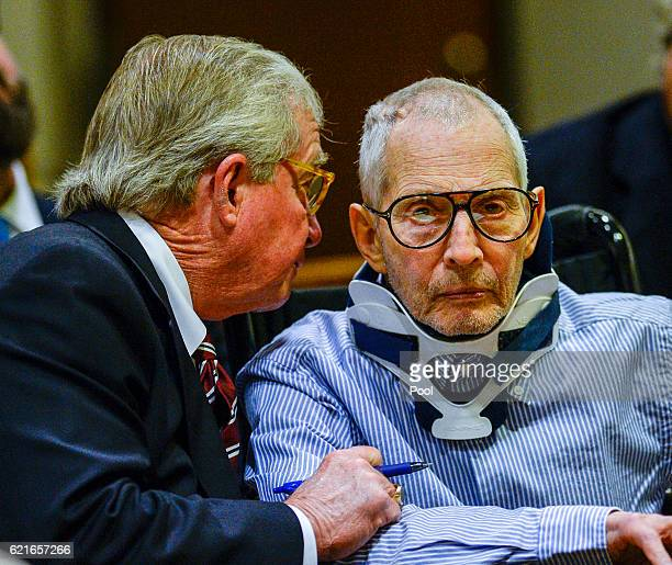 Lawyer Dick DeGuerin left talks with real estate heir Robert Durst in the Airport Branch of the Los Angeles County Superior Court on November 7 2016...