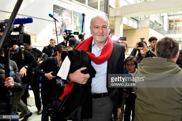 Lawyer Eric Lauvaux arrives at a courtroom in Nanterre on March 15 where the two older children of iconic French musician Johnny Hallyday are...