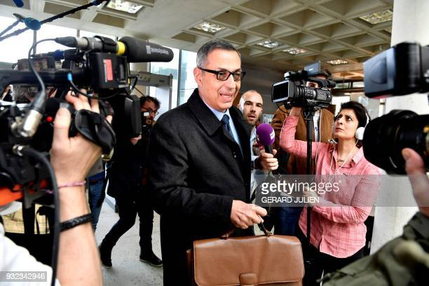 Lawyer for Laeticia Hallyday Ardavan AmirAslani arrives at a courtroom in Nanterre on March 15 where the two older children of iconic French musician...