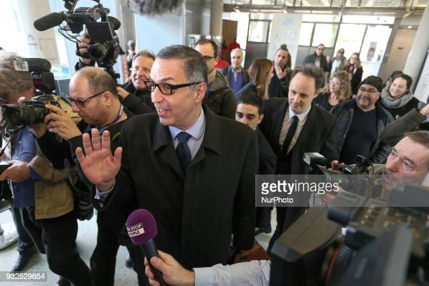Lawyer for Laeticia Hallyday Ardavan AmirAslani arrives at a courtroom in the Nanterre Regional Court in Nanterre on March 15 2018 Nanterre Regional...