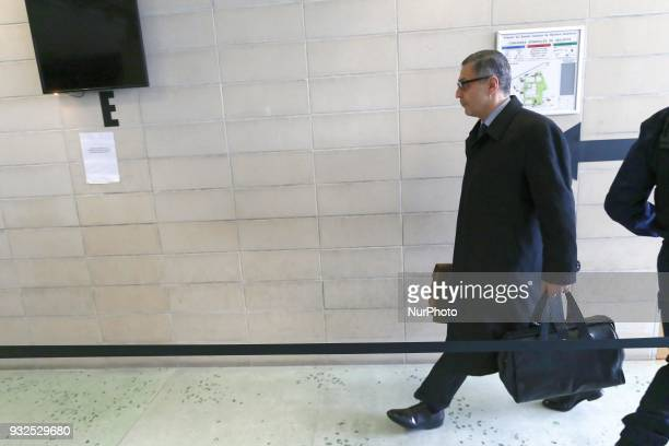 Lawyer for Laeticia Hallyday Ardavan AmirAslani arrives at the entrance of a courtroom at the Nanterre Regional Court in Nanterre on March 15 2018...
