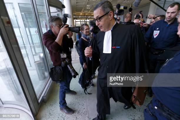 Lawyer for Laeticia Hallyday Ardavan AmirAslani leaves a courtroom at the Nanterre Regional Court in Nanterre on March 15 2018 Nanterre Regional...